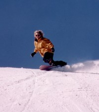 Margaret snowboarding